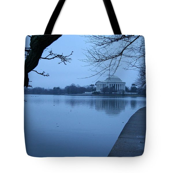 Tote Bag featuring the photograph A Blue Morning For Jefferson by Cora Wandel