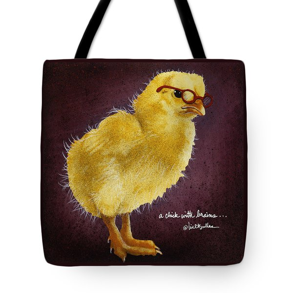 Tote Bag featuring the painting A Chick With Brains... by Will Bullas