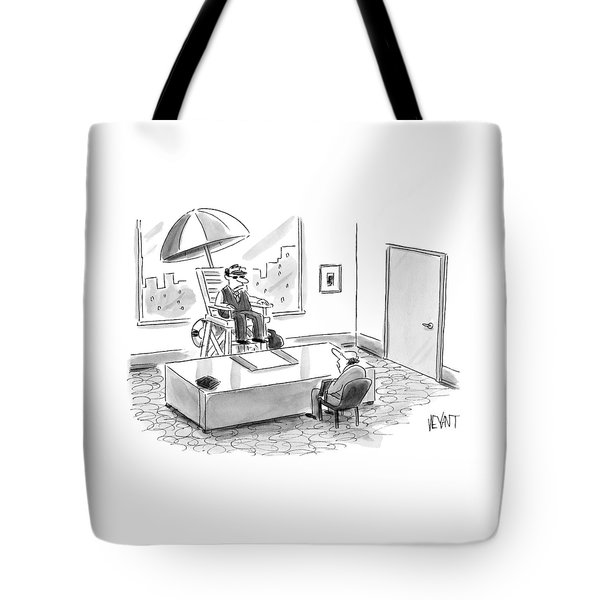 A Man Sits In A Tall Lifeguard Chair Tote Bag