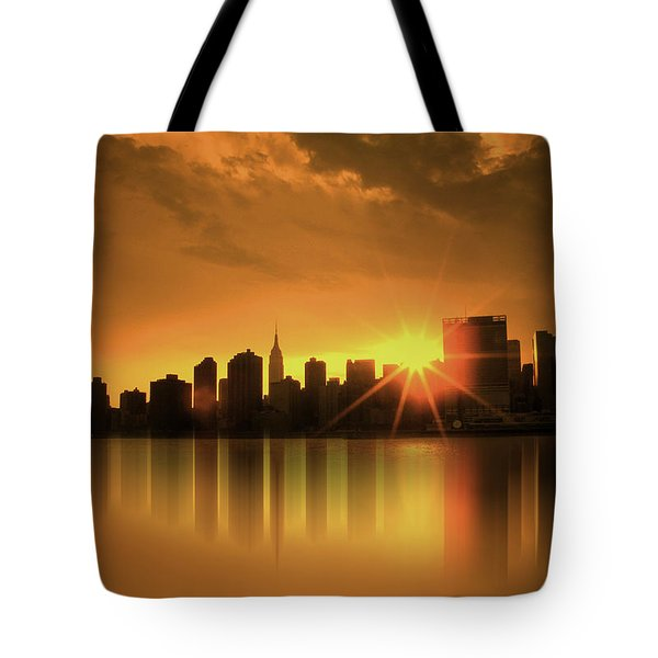 A Manhattan Sunset Tote Bag by Nina Bradica