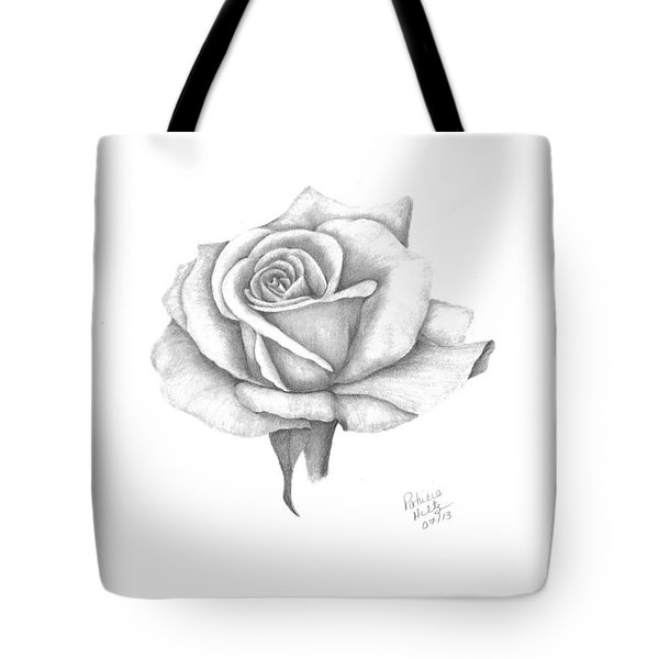 Tote Bag featuring the drawing A Roses Beauty by Patricia Hiltz