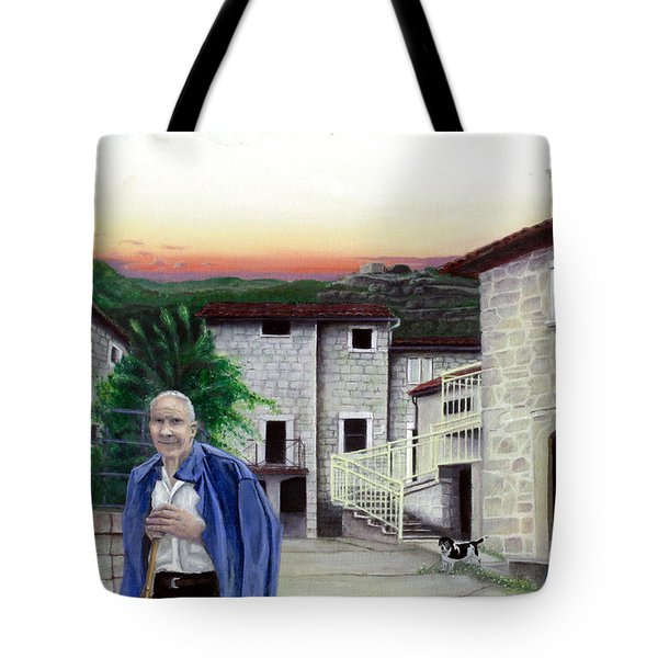 Tote Bag featuring the painting A Walk With Dante by Albert Puskaric