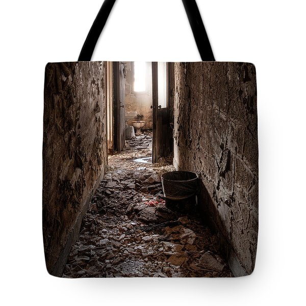Abandoned Building - Hallway To Ladies Room Tote Bag by Gary Heller