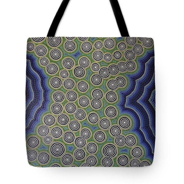 Tote Bag featuring the painting Aboriginal Inspirations 18 by Mariusz Czajkowski
