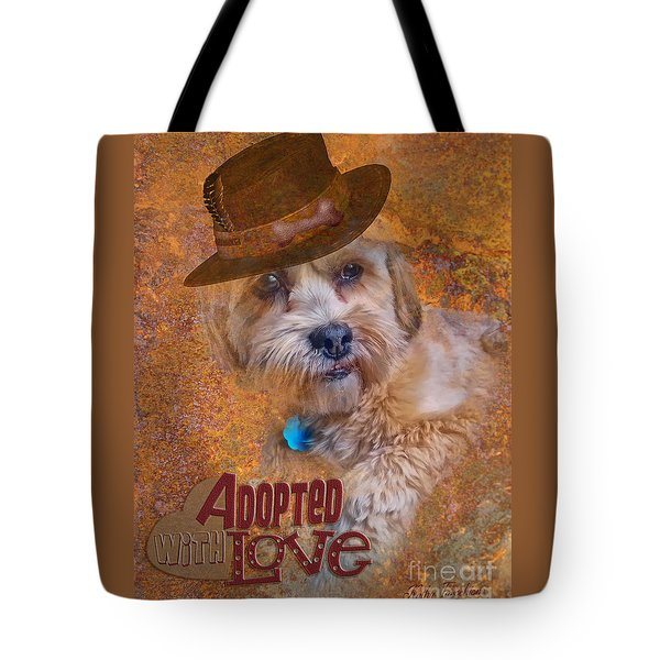 Tote Bag featuring the digital art Adopted With Love by Kathy Tarochione
