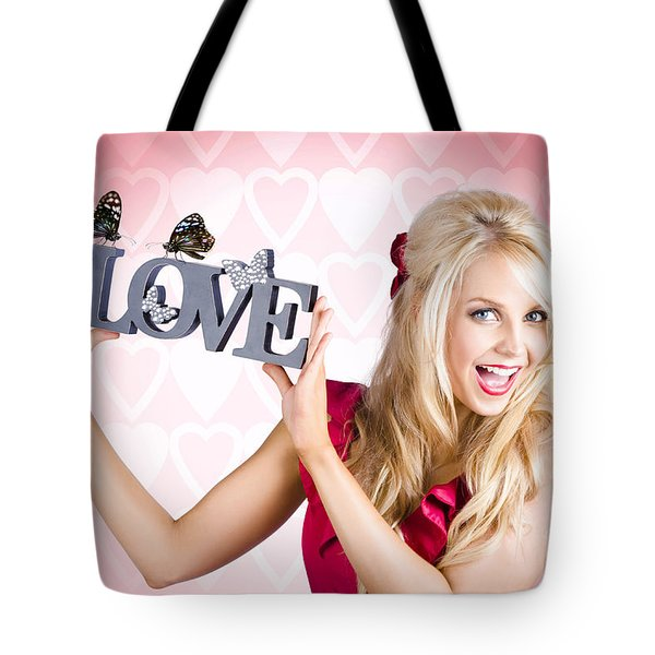 Affectionate Blonde Woman With Love Butterflies Tote Bag