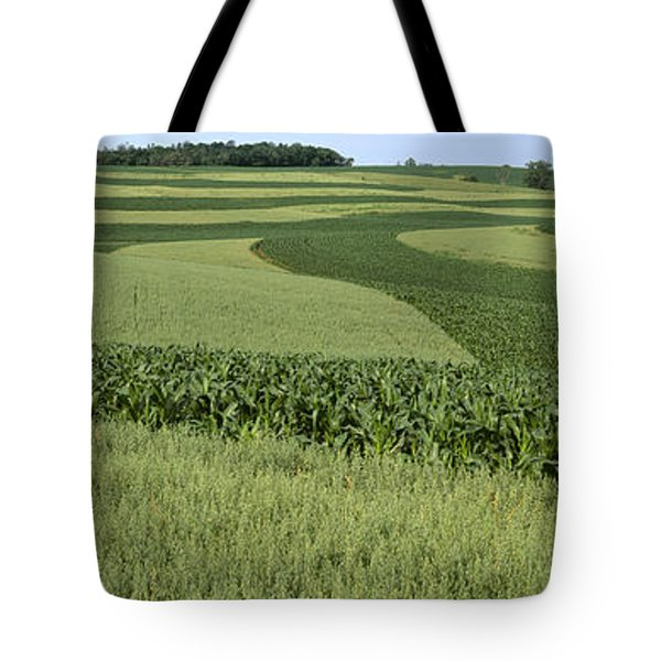 Agriculture - Contour Strips Of Mid Tote Bag by Timothy Hearsum