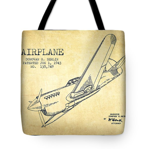 Airplane Patent Drawing From 1943-vintage Tote Bag by Aged Pixel