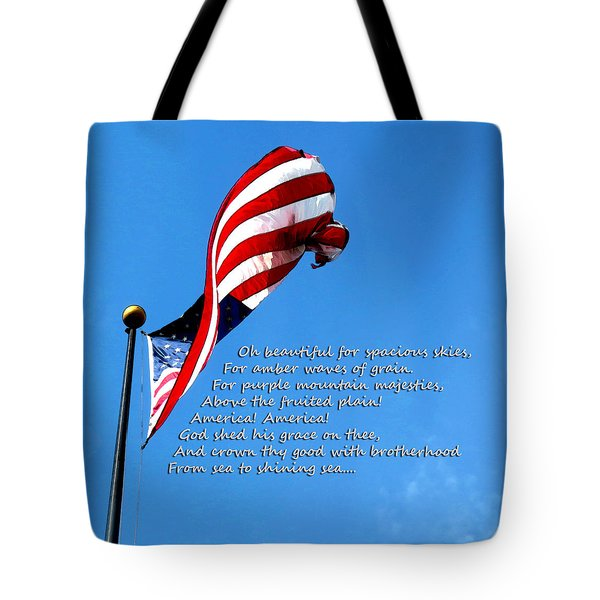 America The Beautiful - Us Flag By Sharon Cummings Song Lyrics Tote Bag by Sharon Cummings
