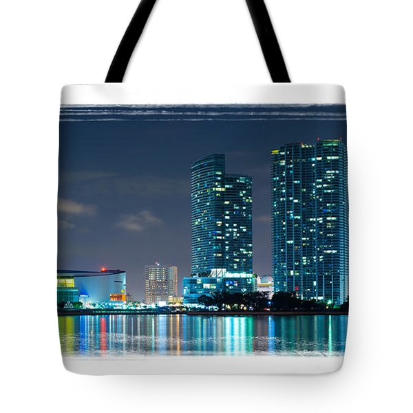 Tote Bag featuring the photograph American Airlines Arena And Condominiums by Carsten Reisinger