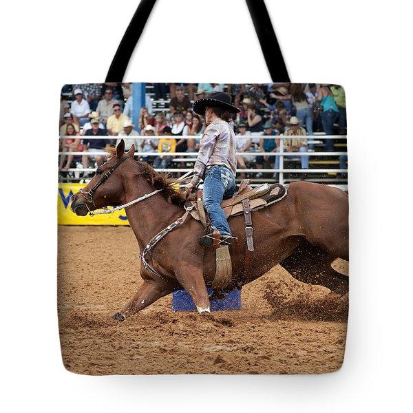 American Rodeo Female Barrel Racer White Blaze Chestnut Horse II Tote Bag