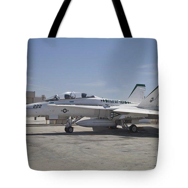 An Fa-18b Hornet In Centennial Markings Tote Bag by Timm Ziegenthaler