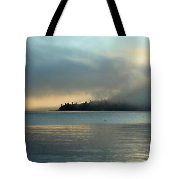 An Island In Fog Tote Bag