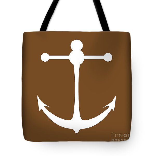 Anchor In Brown And White Tote Bag
