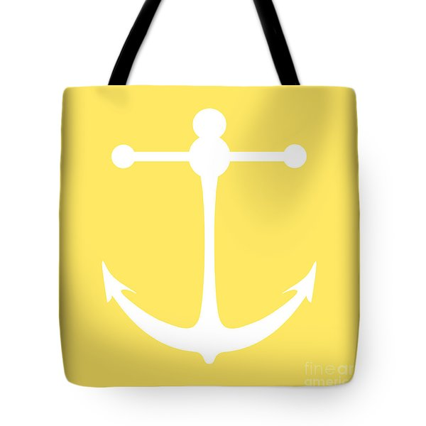 Anchor In Yellow And White Tote Bag