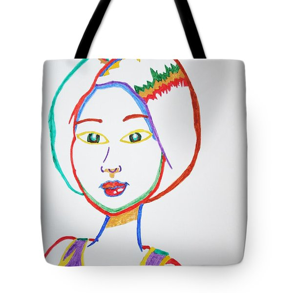Tote Bag featuring the painting Anime Asian Girl by Stormm Bradshaw