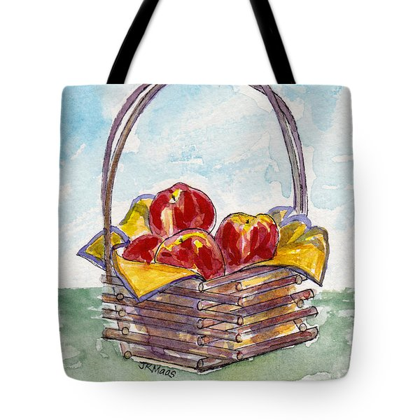 Tote Bag featuring the pastel Apple Basket by Julie Maas