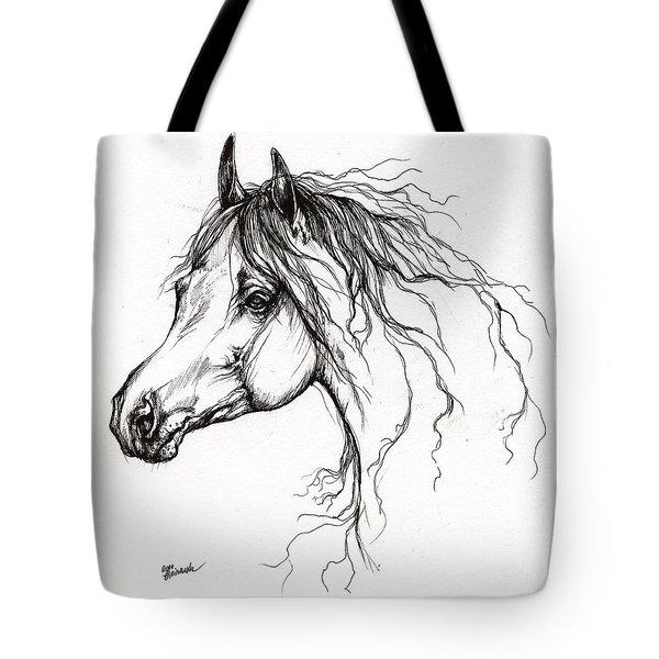 Arabian Horse Drawing 37 Tote Bag by Angel  Tarantella