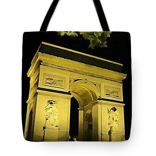 Arc De Triomphe At Night Tote Bag by John Malone