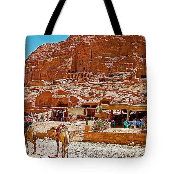 Area In Front Of Tombs Of The Kings In Petra-jordan Tote Bag by Ruth Hager