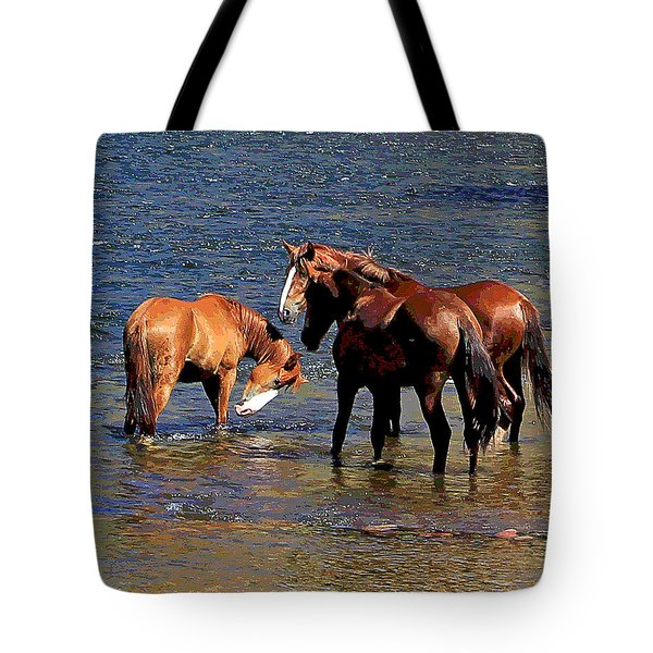 Arizona Wild Horses On The Salt River Tote Bag