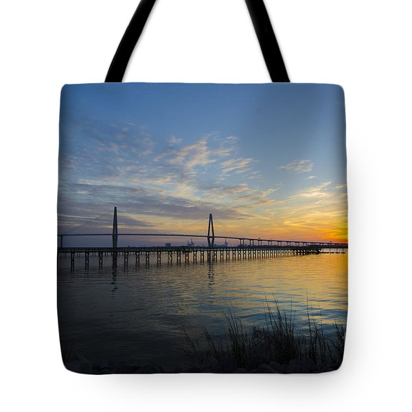 Sunset Over The Charleston Waters Tote Bag by Dale Powell