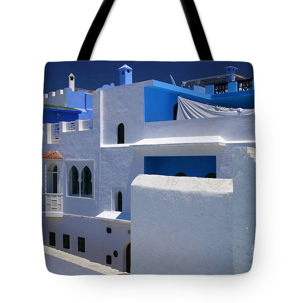 Tote Bag featuring the photograph Asilah Meaning Authentic In Arabic Fortified Town On Northwest Tip Of Atlantic Coast Of Morocco by Ralph A  Ledergerber-Photography