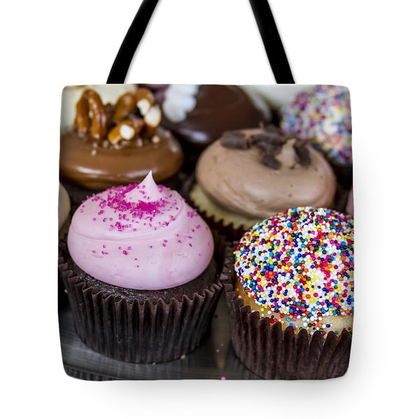 Assorted Flavors Of Cupcake On Display Tote Bag