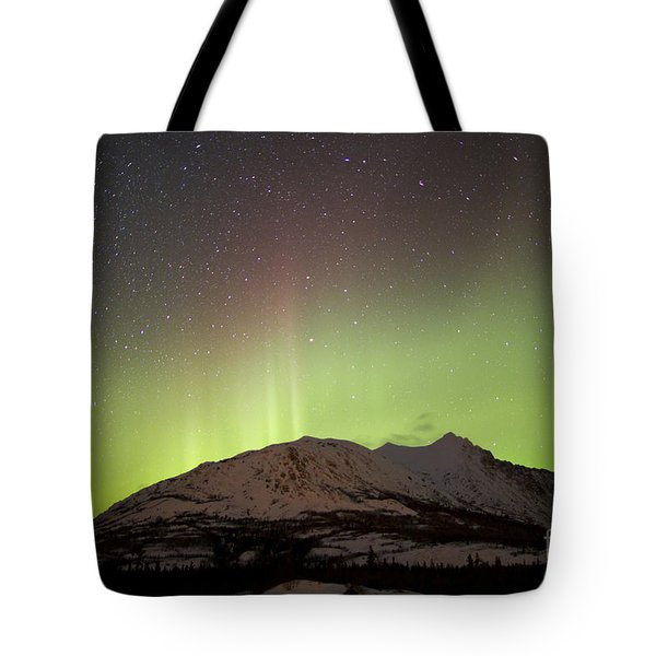 Aurora Borealis And Milky Way Tote Bag by Joseph Bradley