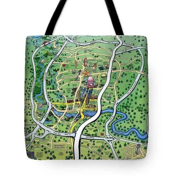 Austin Texas Cartoon Map Tote Bag