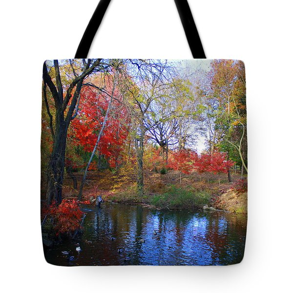 Autumn By The Creek Tote Bag by Dora Sofia Caputo Photographic Art and Design