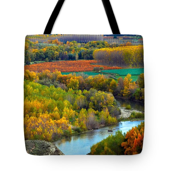 Autumn Colors On The Ebro River Tote Bag
