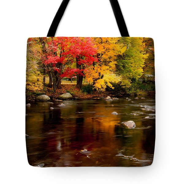 Tote Bag featuring the photograph Autumn Colors Reflected by Jeff Folger