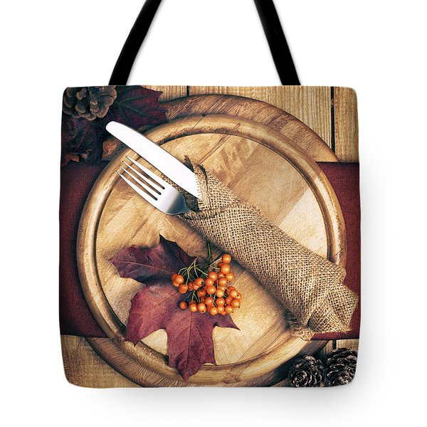 Autumn Table Setting Tote Bag by Amanda Elwell
