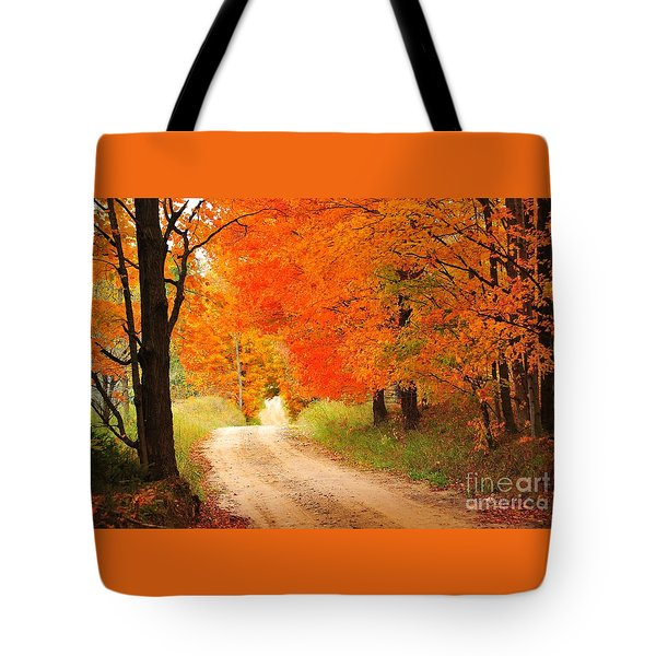 Tote Bag featuring the photograph Autumn Trail by Terri Gostola