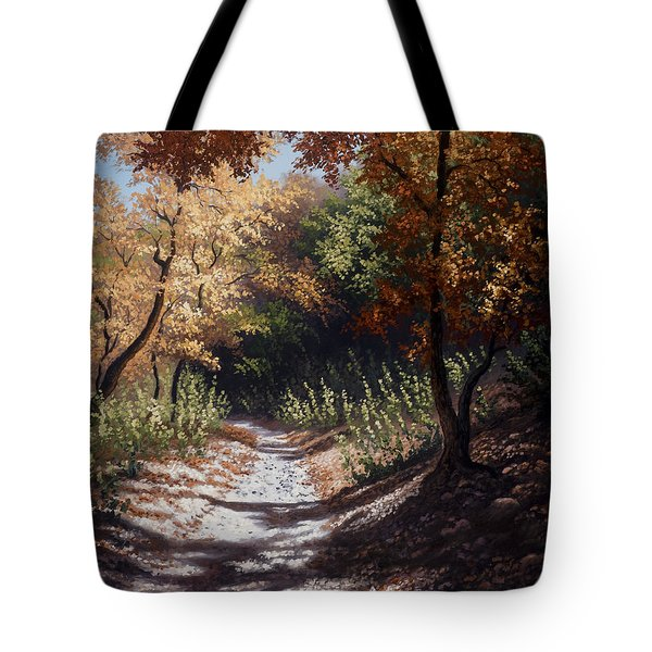 Tote Bag featuring the painting Autumn Trails by Kyle Wood