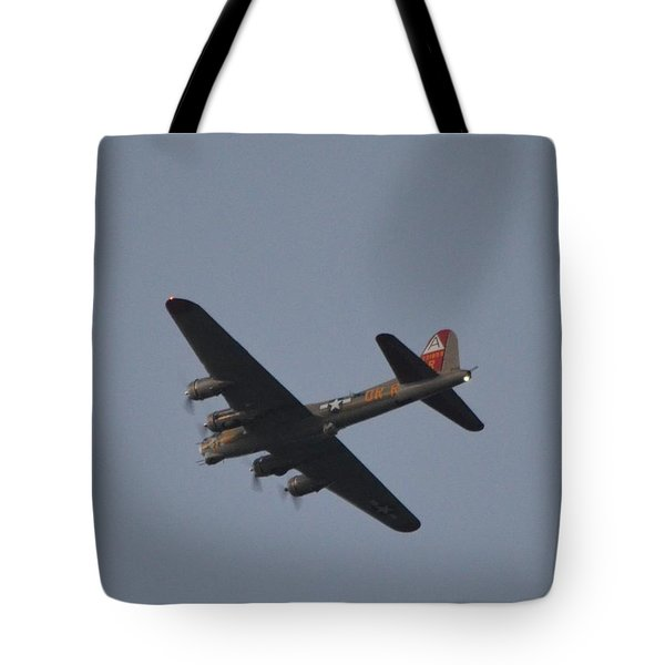 Tote Bag featuring the photograph B-17 Flying Fortress Wwii Bomber Over Santa Rosa Sound At Twilight by Jeff at JSJ Photography