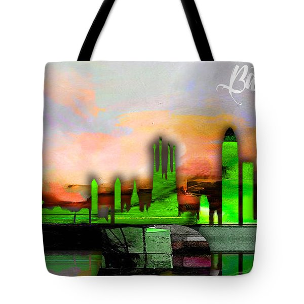 Barcelona Spain Skyline Watercolor Tote Bag