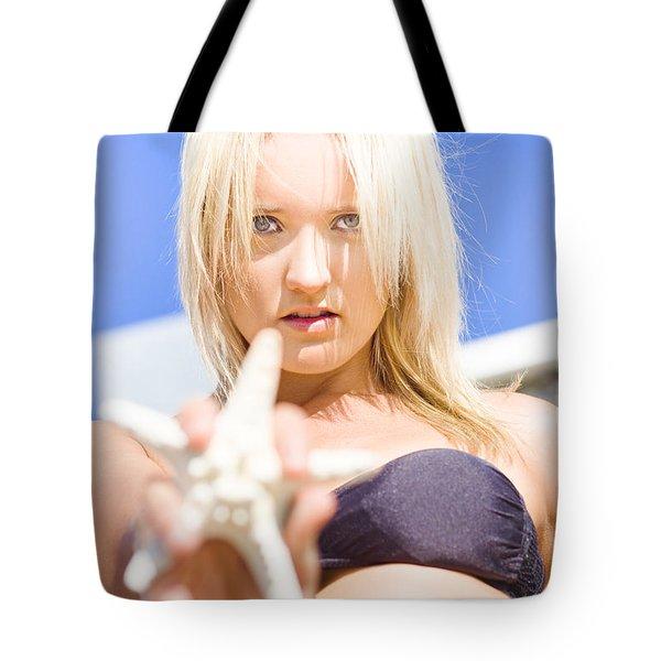 Beach Girl Holding Starfish Tote Bag