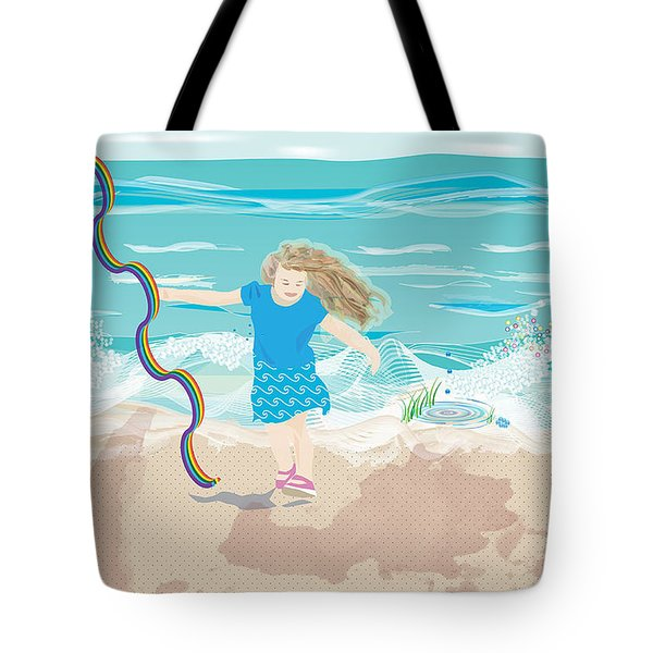 Tote Bag featuring the digital art Beach Rainbow Girl by Kim Prowse
