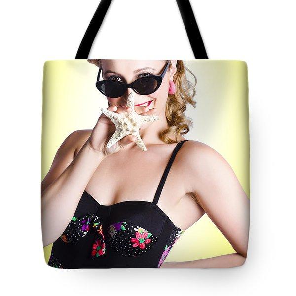 Beach Travel Girl Holding Tropical Star Fish Tote Bag