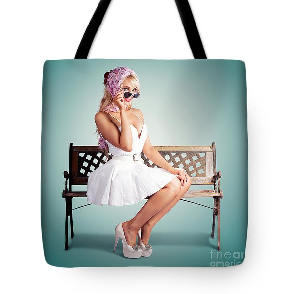 Beautiful Blond Woman In Retro American Fashion Tote Bag