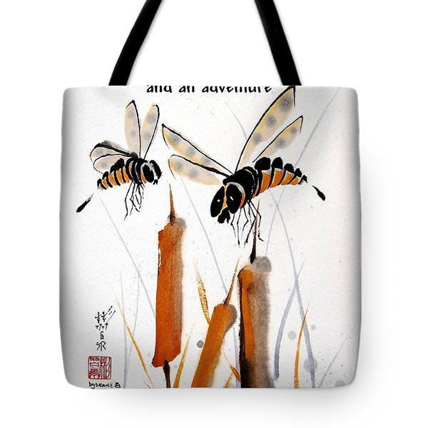 Tote Bag featuring the painting Beeing Present by Bill Searle