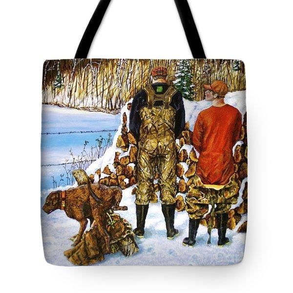 Behind The Wood Pile    Tote Bag by Linda Simon
