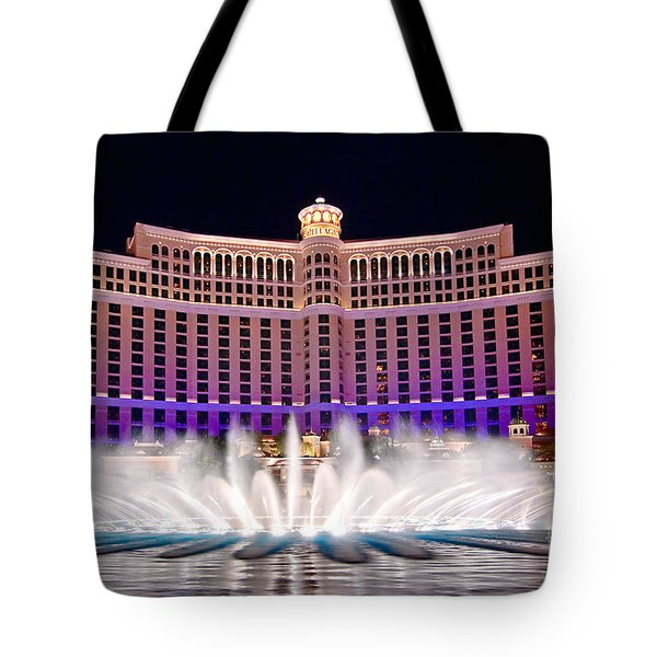Bellagio Hotel And Casino At Night Tote Bag by Jamie Pham