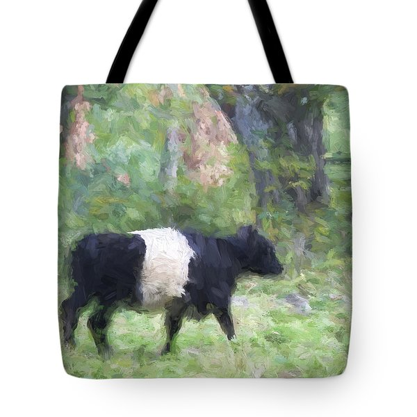 Belted Galloway Cow Painterly Effect Tote Bag