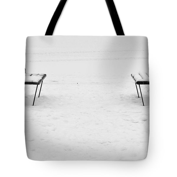 Benches On A Dock Tote Bag by Jouko Lehto