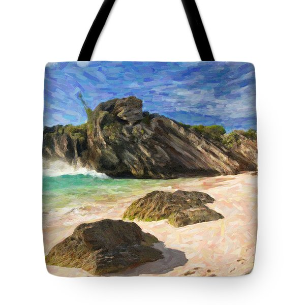 Tote Bag featuring the digital art Bermuda Beach by Verena Matthew