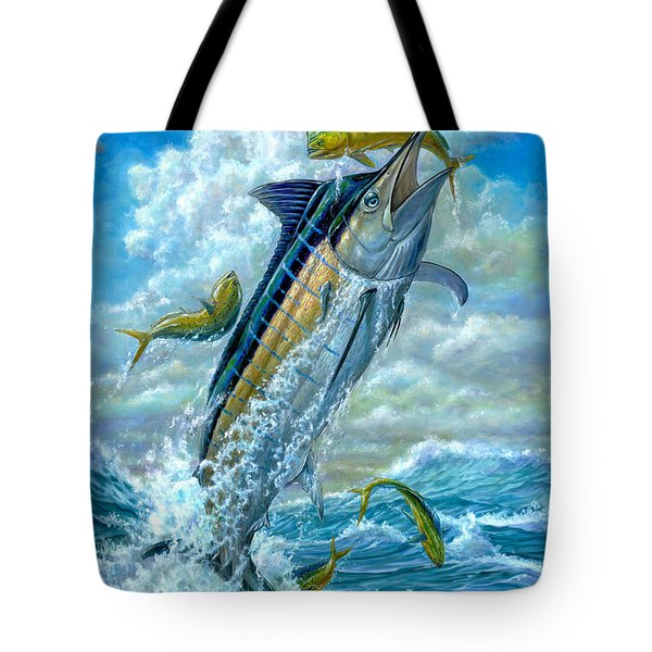 Big Jump Blue Marlin With Mahi Mahi Tote Bag