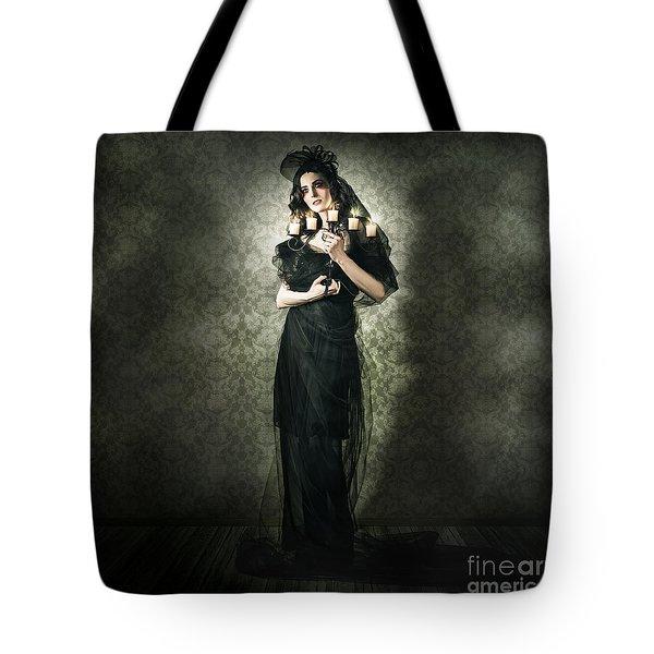 Black Fashion Model In Dark Vintage Haunted House Tote Bag